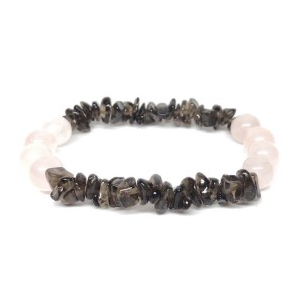 Breast Cancer Side Effect Minimizer - Smoky Quartz & Rose Quartz Gemstone Bracelet