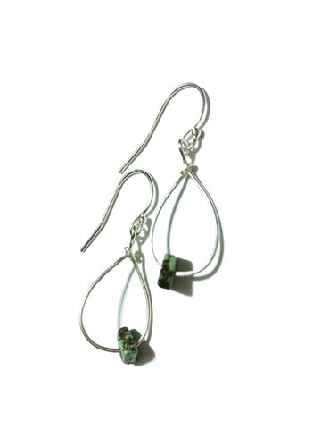Teardrop Magnesite Silver Earrings