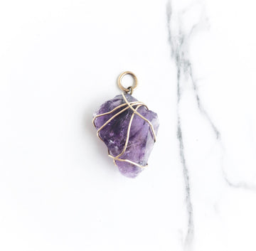 Amethyst wire-wrapped gold-filled pendant
