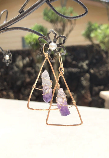 Amethyst Triangle Wire-Wrapped Gold-Filled Earrings