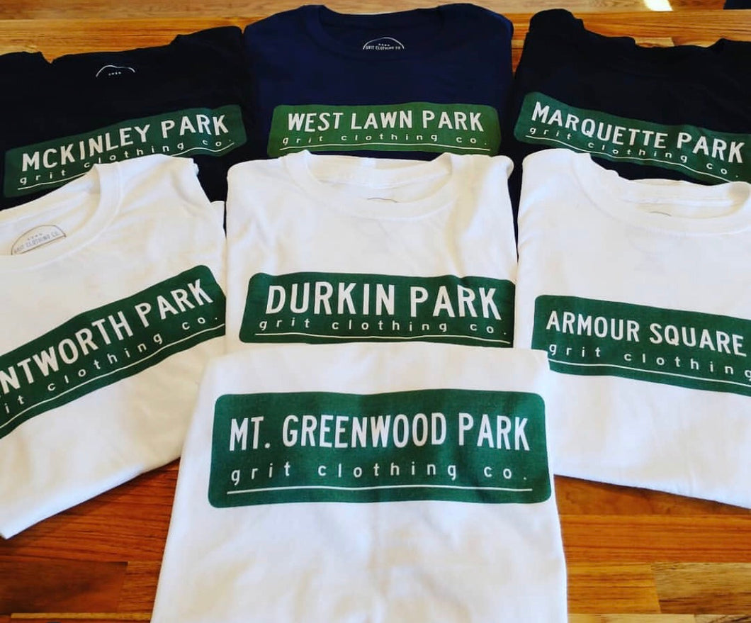 Custom Vintage Park Sign T-Shirt (minimum of 2 shirts required per design)