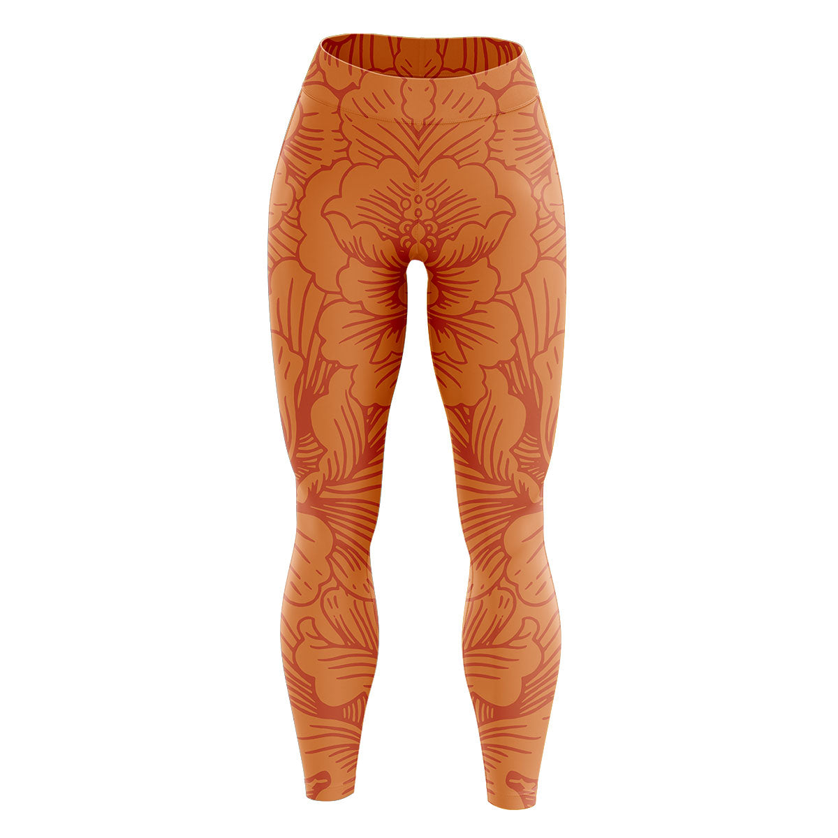 Orange Floral High Waisted Yoga Leggings