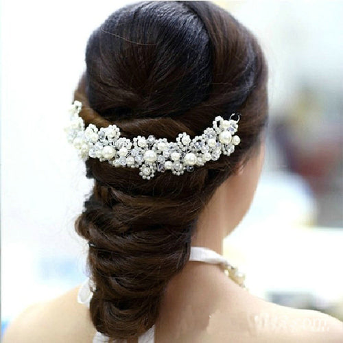 Hair Accessory White Pearl Crystal,So Pretty
