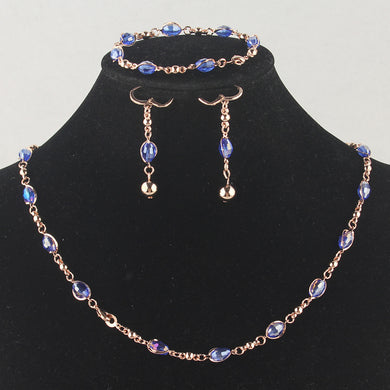 Necklace Bracelet Earring Blue Austrian Crystal  Set