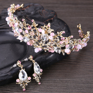 Tiara & Earrings Pink Leaf Crystal Design