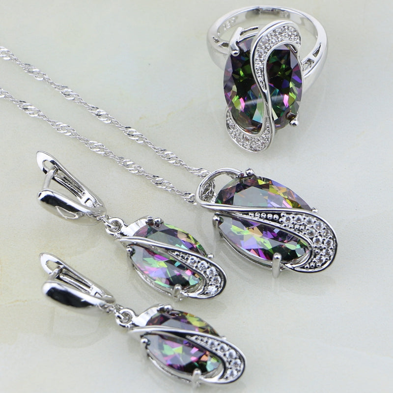 Necklace/Earrings/Pendant/Ring, Cubic Zirconia, 925 Sterling Silver Sets