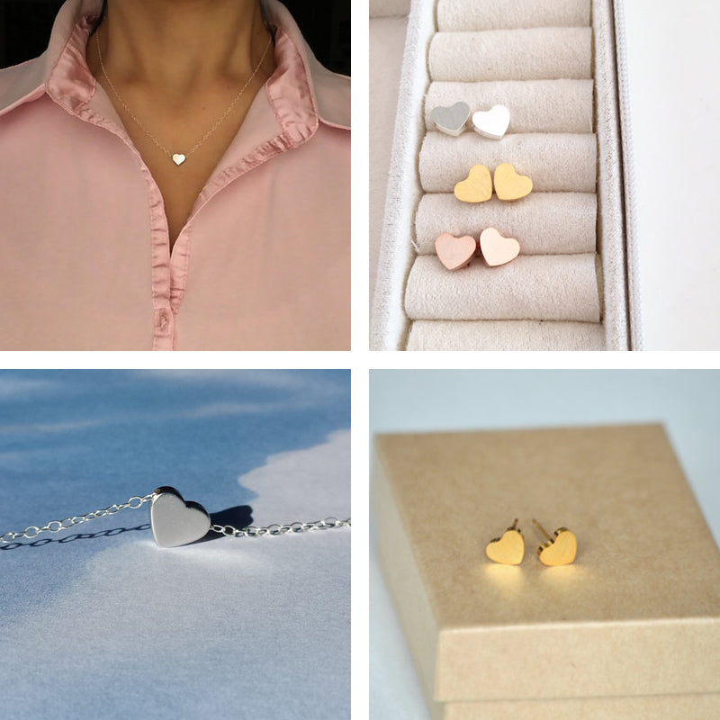 Necklace Stud Earrings Minimal Rose Heart Sets, Charming
