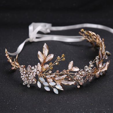Headband & Hair Comb Crystal Bead Flower