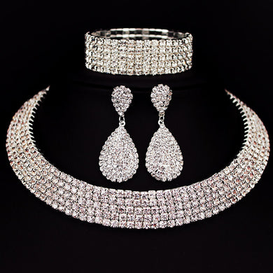 Choker Necklace Earrings Bracelet Rhinestone Crystal Set, Classic