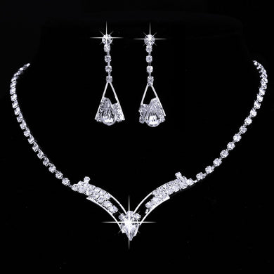 Necklace Earrings Rhinestone Crystal
