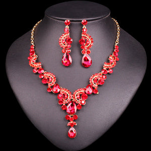 Necklace Earring & Bracelet Crystal Set Exquisite