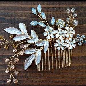 Hair Jewelry Comb Clip Floral Crystal Flower