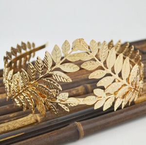 Hairband Baroque Gold Silver Metal Leaves