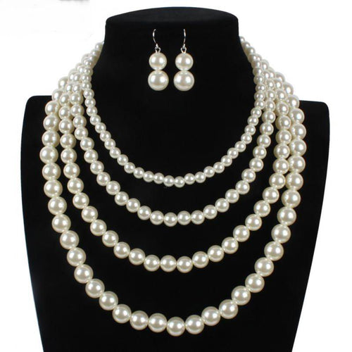 Necklace Earring  Four Layers Pearl Chokers Set, Classic