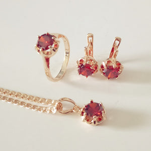 Necklace Earrings Ring Set Red Cubic Zircon