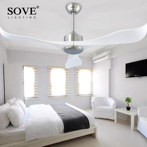 838e14ac0fb Sove Modern Ceiling Fans Without Light Remote Control White Plastic Blade Bedroom  220v Ceiling Fan Decor