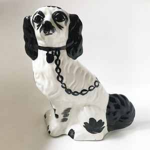 Vintage Staffordshire Black & White Dog