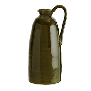 Tall Olive Green Terracotta Jug