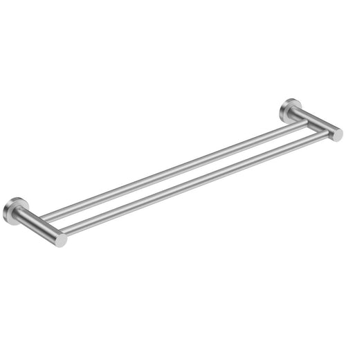 Round Double Towel Rail 650mm Brushed Stainless Steel