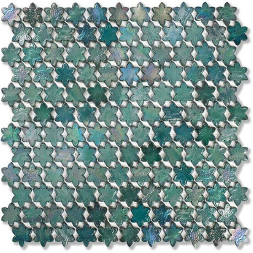 Neoglass Petites Fleurs Juniper 316x293mm Mosaic by Sicis - Luxury wall and floor mosaics