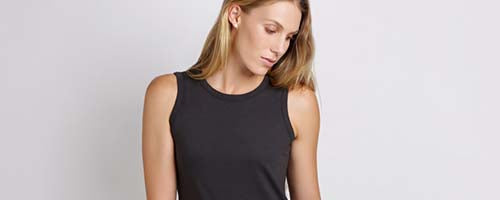 Twill & Tee - woman wearing black singlet