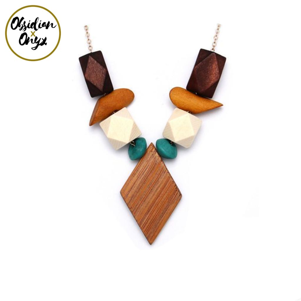wood bazaar bears boho style necklace pendant products handmade wooden leather vintage jewellery and
