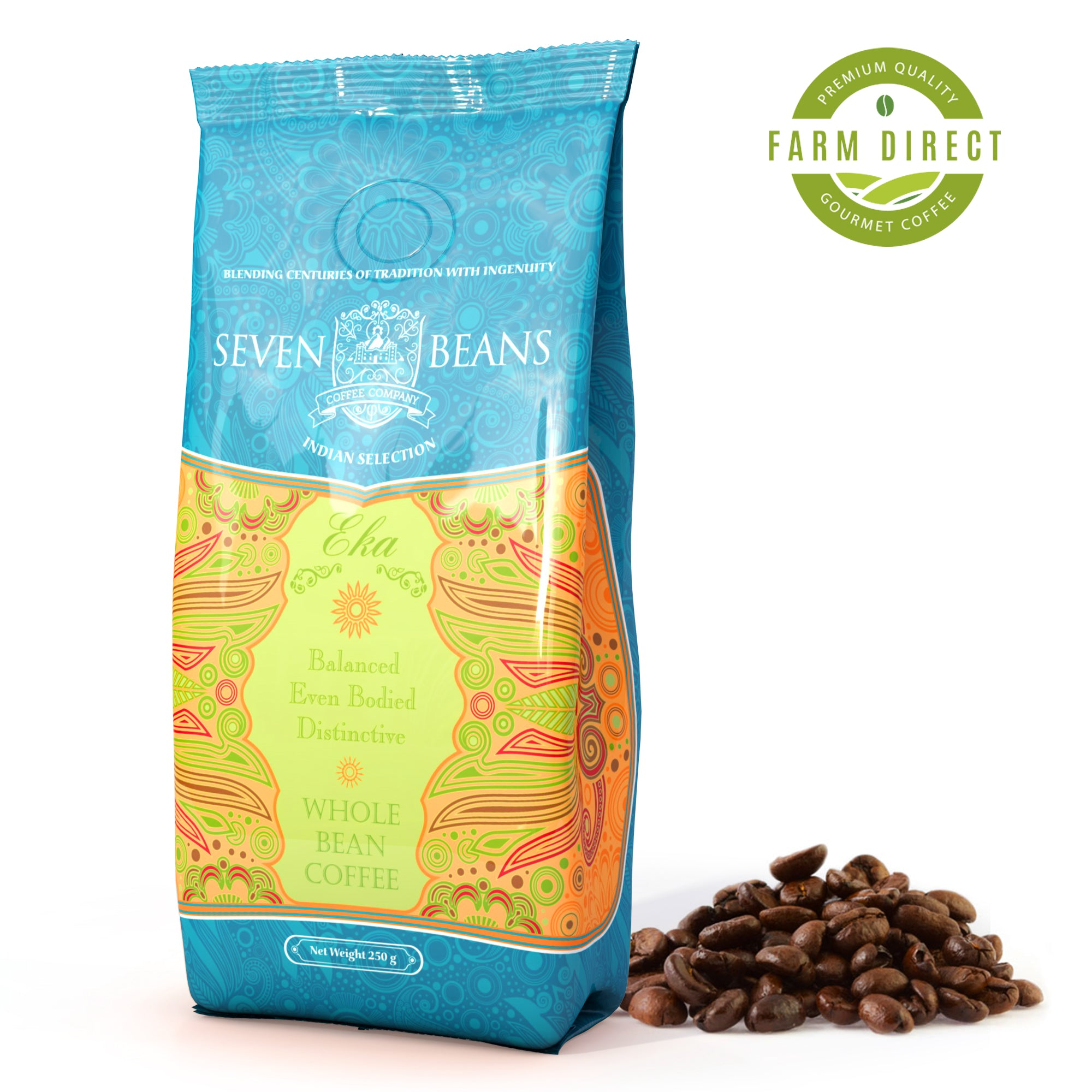 "Seven Beans Coffee Company's ""Eka"" Medium Roast - Single Origin - Breakfast Blend - Indian Gourmet Coffee"