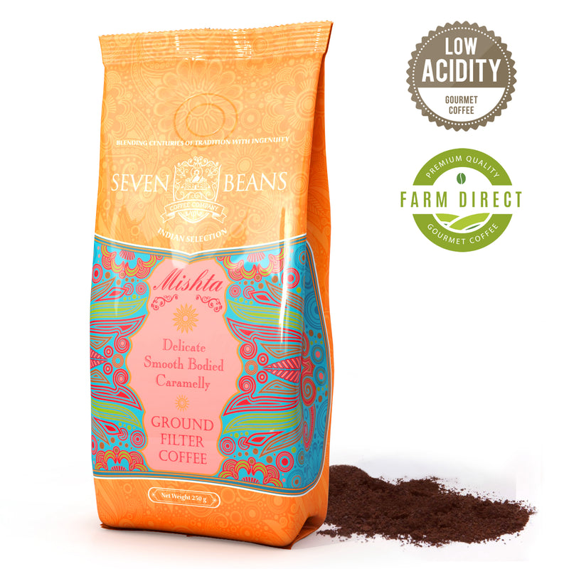 "Seven Beans ""Mishta"" Medium Roast, Single Origin Monsooned Malabar, Gourmet Indian Coffee"