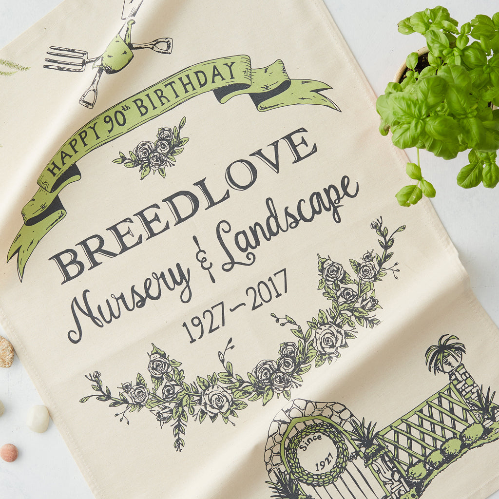 Breedlove Nursery 90th Birthday tea towel