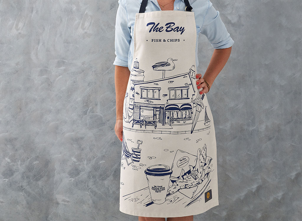 The Bay Fish and Chip shop apron by Victoria Eggs