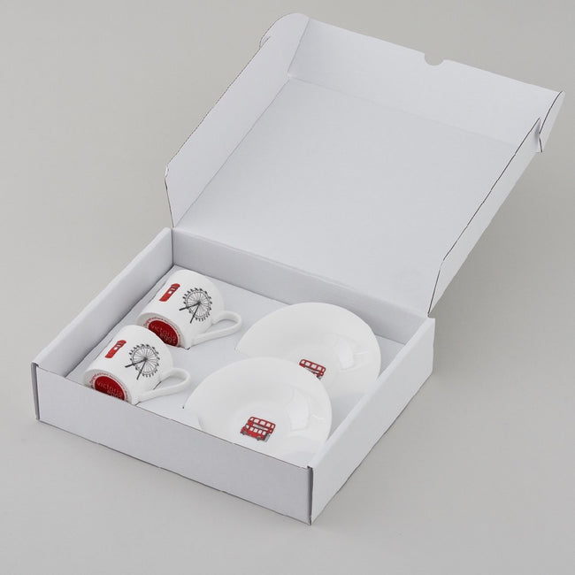 London Skyline - Boxed Set of 2 Espresso Cups and Saucers