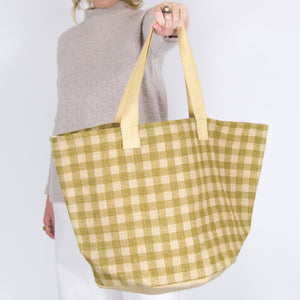 Gingham Jute Shopper