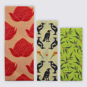 Vegan Reusable Food Wraps 3 Pack - Banish