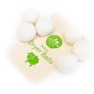 Wool Dryer Balls (6) With Storage Pouch