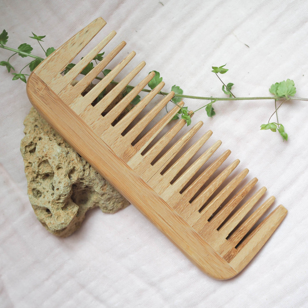 Bamboo Wide Tooth Hair Comb 2-pack