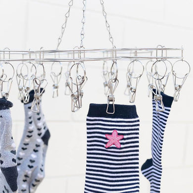 Stainless Steel Sock Hanger with 20x Pegs