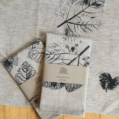 Fig Leaf Handprinted Linen Tea Towels