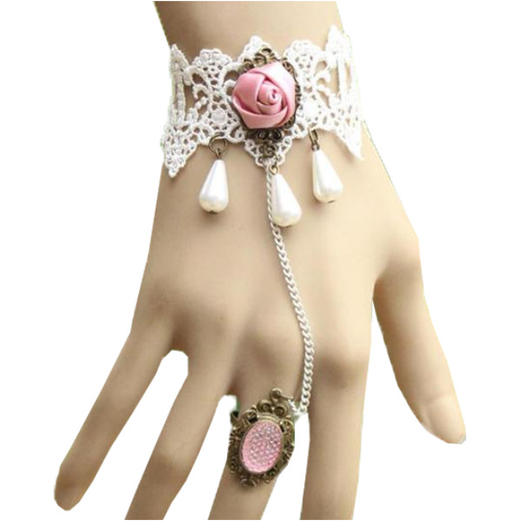 Pink Rose Ring-to-Wrist Bracelet
