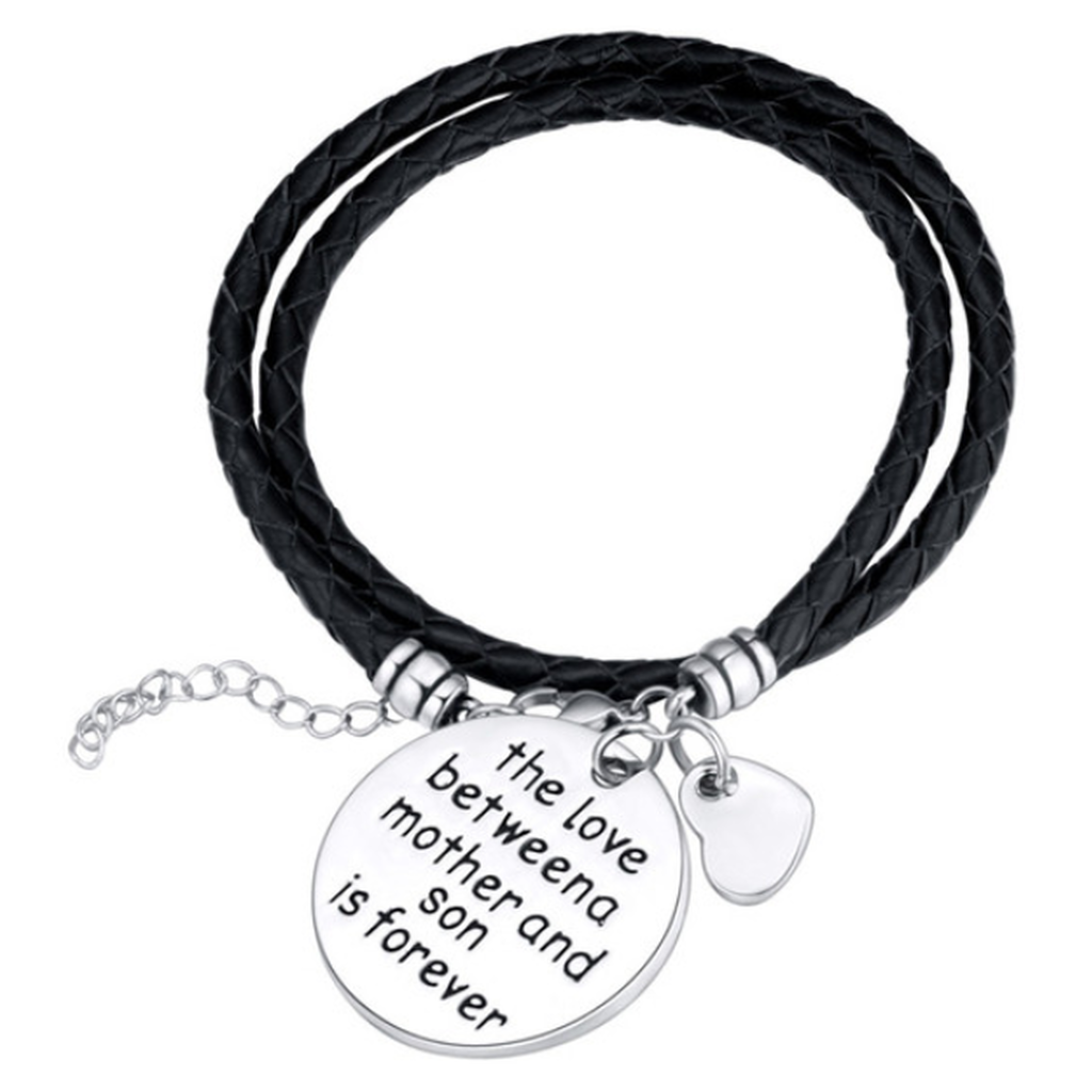 The Love Between A Mother And Son Is Forever - Hand Stamped Bracelet