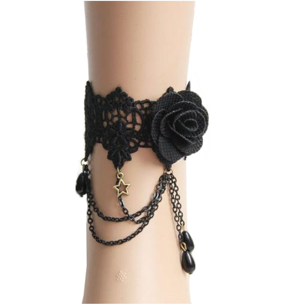 Asymmetrical Dark Rose Anklet