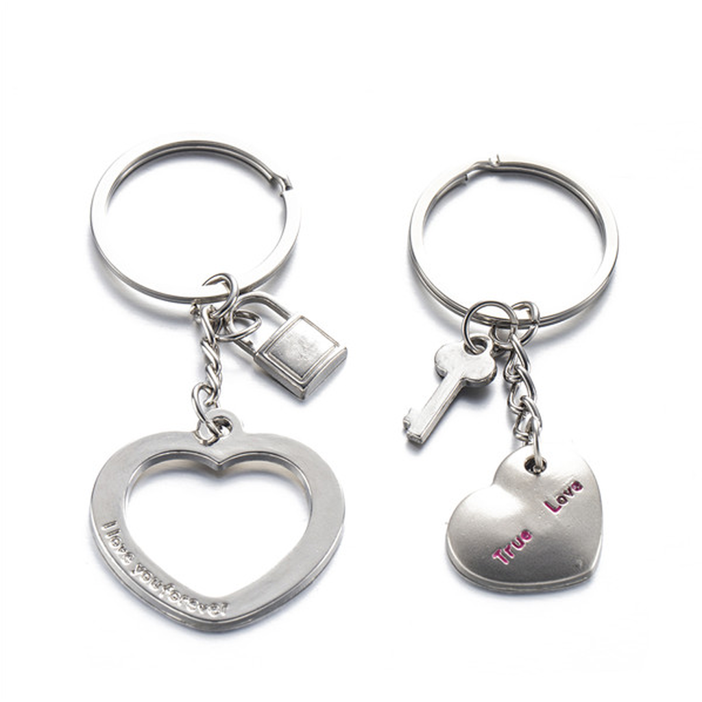 Couple's Key and Lock Keychain