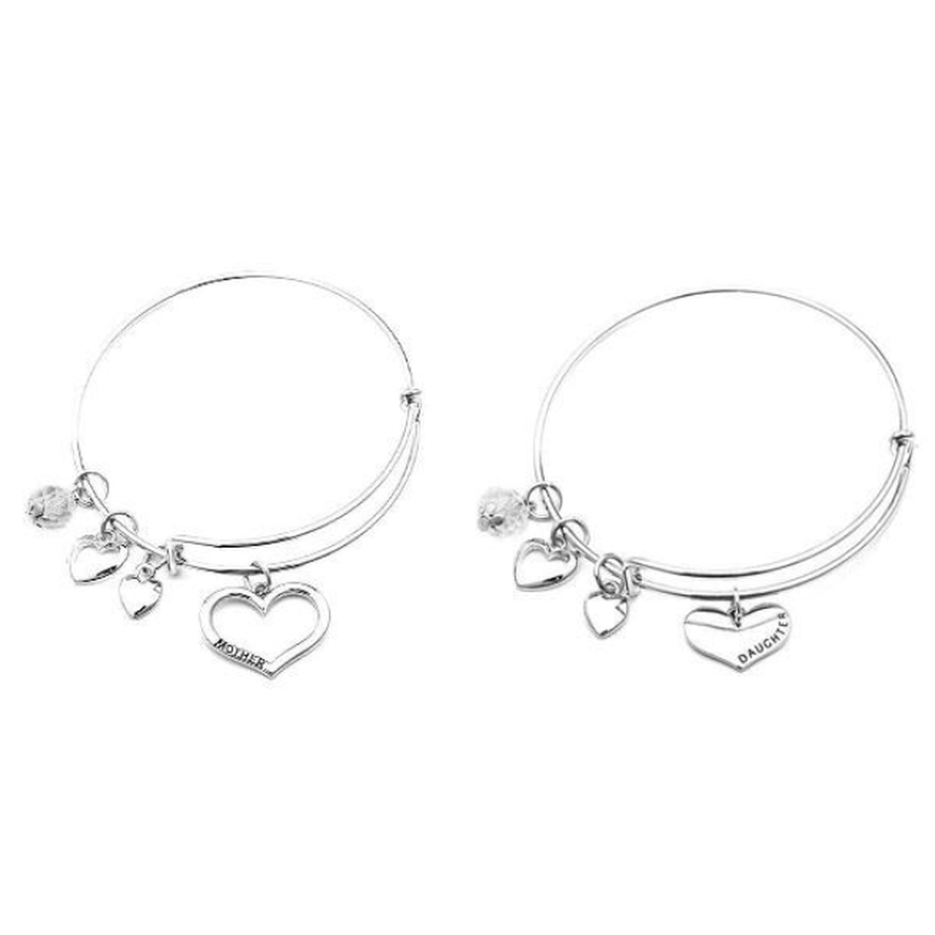 Mother Daughter Charm Bangle Set
