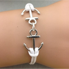 Double Anchor White Bracelet