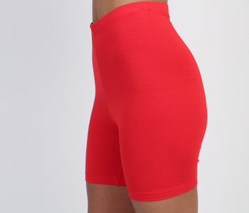 Red High-Waist Shorts