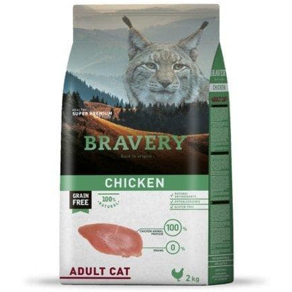 Bravery Adult Cat Kibble Chicken 2kg - Summers Pet Accessories