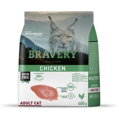 Bravery Adult Cat Kibble Chicken 400g - Summers Pet Accessories