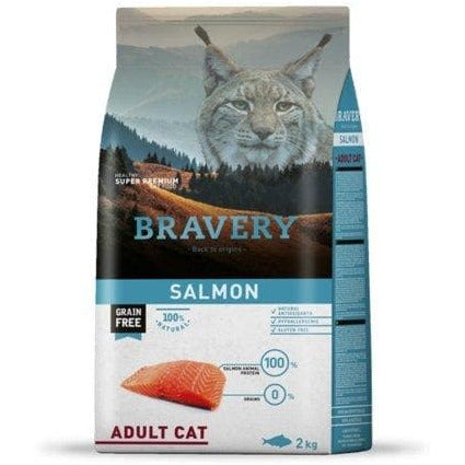 Bravery Adult Cat Kibble Salmon 2kg - Summers Pet Accessories