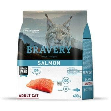 Bravery Adult Cat Kibble Salmon 400g - Summers Pet Accessories