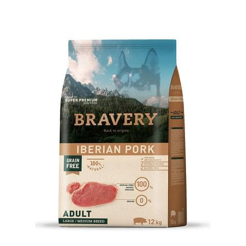 Bravery Adult Dog Kibble Iberian Pork 12kg - Summers Pet Accessories