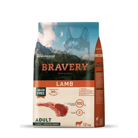 Bravery Adult Dog Kibble Lamb 12kg - Summers Pet Accessories